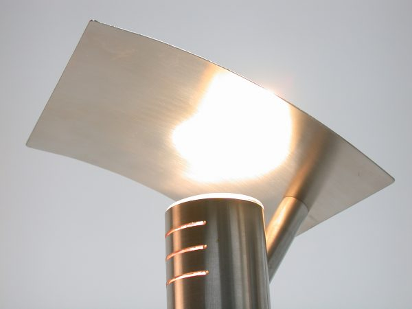 'Rex' Slim Stainless Steel Table Light- Light bouncing off shade